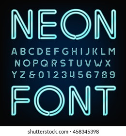 Neon tube alphabet font. Type letters and numbers on a dark background. Vector typeface for labels, titles, posters etc.
