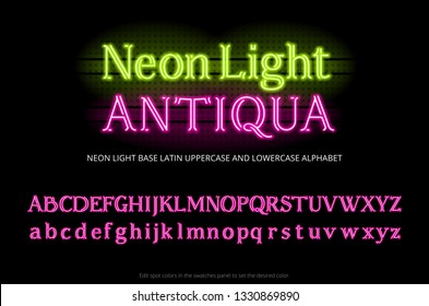 Neon tube alphabet typeface. Neon color light serif letters. Base latin uppercase and lowercase type set. full english ABC.