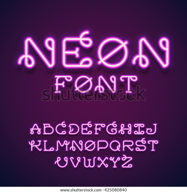Neon tube hand drawn alphabet font. Script type letters on a dark background. Vector typeface for labels, titles, posters etc.