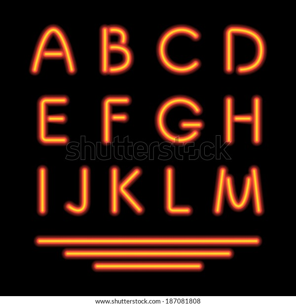 Neon Tube Letters Glowing Font Vector Stock Vector (Royalty