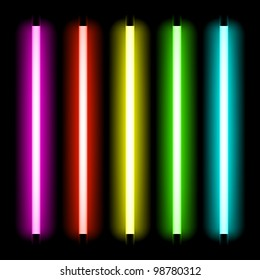 Neon tube light. Vector.