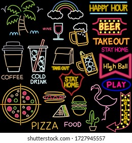 Neon tube style illustration of drink and food and tropical image. Black background.
