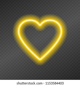 Neon tubes in the shape of a heart isolated on a dark transparency grid.