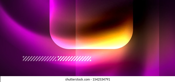 Neon ultraviolet abstract waves background. Shiny lights on bright colors with design elements. Futuristic or technology template illustration, hi-tech concept