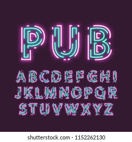 Neon uppercase alphabet made of double intermittent luminous contour.