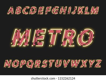 Neon uppercase slanted alphabet made of double intermittent luminous contour.