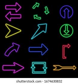 neon vector flat set icon of colorful different arrows isolated