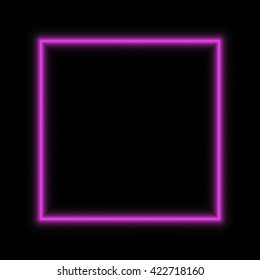 Neon vector frame pink square glowing