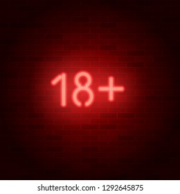 Neon vector sign 18+ on brick wall. Age rating symbol