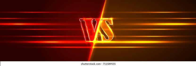 Neon Versus Logo. VS Vector Letters Illustration. Competition Icon. Fight Symbol.