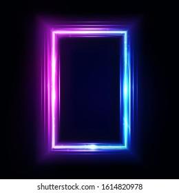 Neon vertical rectangle frame, border. Neon lights sign. Vector abstract background, tunnel, portal. Geometric glow outline rectangular shape, laser glowing lines. Abstract background