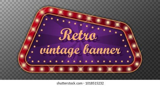 Neon vintage banner. Retro light sign. Vector illustration.