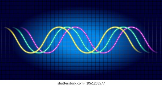Neon wave graph. Oscilloscope with image of wave diagram.  Monitoring of processes occurring in electrical circuit.