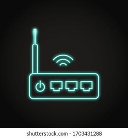 Neon WiFi Router Symbol in Linie Stil. Wireless-Modemausrüstung für den Internetdienst. Vektorillustration.