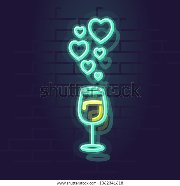 Neon wine with hearts. Night illuminated wall street sign. Isolated geometric style illustration on brick wall background.