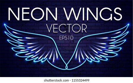 Neon Wings. Fire and Flame. Transparent Light Design. Vector illustration