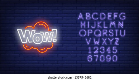 Neon WOW sign. Glowing neon wow inscription in cloud. Surprise concept. Night bright advertisement. Vector illustration for party, advertisement, special offer.