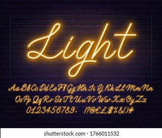 Neon yellow script font. Glowing alphabet with letters, numbers and special characters.