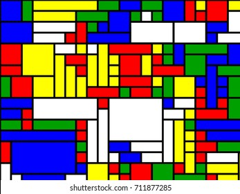 Neoplasticism of Rectangular Pete Mondrian Mosaic - Abstract Vector  Background