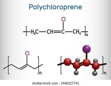 Neoprene, polychloroprene molecule. It is polymer, synthetic rubber obtained by polymerization of chloroprene. Structural chemical formula and molecule model. Vector illustration