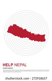 Nepal Charity advertisement. Help Nepal. earth quake location highlighted around map.