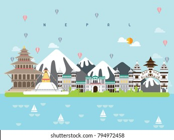 Nepal Famous Landmarks Infographic Templates for Traveling Minimal Style and Icon, Symbol Set Vector Illustration Can be use for Poster Travel book, Postcard, Billboard.