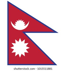 Nepal flag, official colors and proportion correctly. National Nepal flag. Vector illustration. EPS10