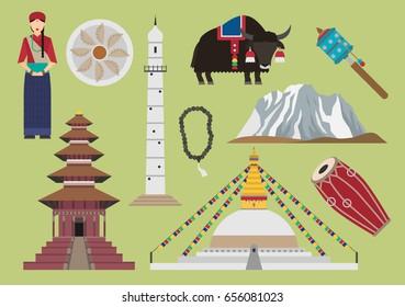 Nepal illustration, vector, landmark, travel, food, culture