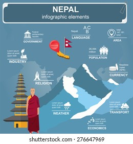 Nepal  infographics, statistical data, sights. Vector illustration
