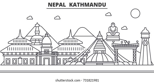Nepal, Kathmandu architecture line skyline illustration. Linear vector cityscape with famous landmarks, city sights, design icons. Landscape wtih editable strokes