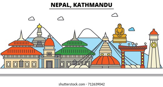 Nepal, Kathmandu. City skyline: architecture, buildings, streets, silhouette, landscape, panorama, landmarks. Editable strokes. Flat design line vector illustration concept. Isolated icons set