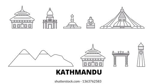 Nepal, Kathmandu line travel skyline set. Nepal, Kathmandu outline city vector illustration, symbol, travel sights, landmarks.