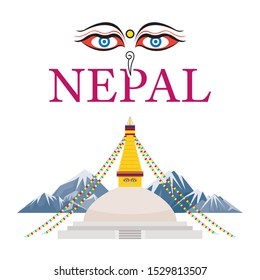 Nepal Landmarks with Eyes of the Buddha, Mount Everest Background, Famous Place and Historical Buildings, Travel and Tourist Attraction
