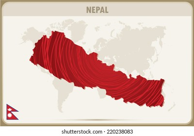 NEPAL map graphic, Vector.