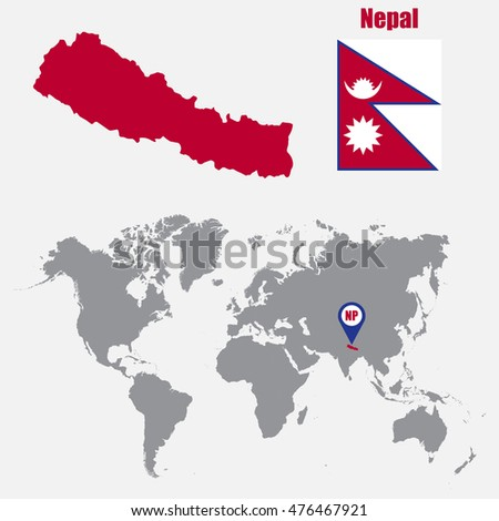 Nepal In The World Map.Nepal Map On World Map Flag Stock Vector Royalty Free 476467921