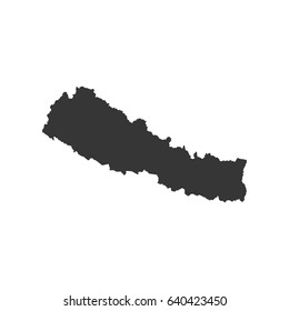 Nepal map silhouette on the white background. Vector illustration