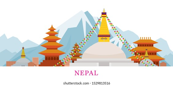Nepal Skyline Landmarks in Flat Style, Famous Place and Historical Buildings, Travel and Tourist Attraction