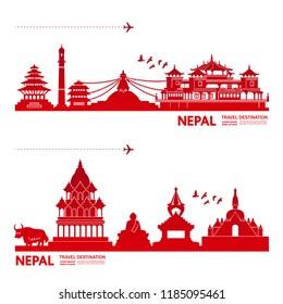 Nepal Travel Destination vector.