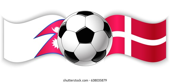 Nepalese and Danish wavy flags with football ball. Nepal combined with Denmark isolated on white. Football match or international sport competition concept.