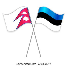 Nepalese and Estonian crossed flags. Nepal combined with Estonia isolated on white. Language learning, international business or travel concept.