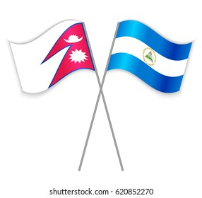 Nepalese and Nicaraguan crossed flags. Nepal combined with Nicaragua isolated on white. Language learning, international business or travel concept.