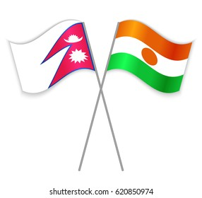 Nepalese and Nigerien crossed flags. Nepal combined with Niger isolated on white. Language learning, international business or travel concept.