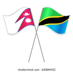 Nepalese and Tanzanian crossed flags. Nepal combined with Tanzania isolated on white. Language learning, international business or travel concept.