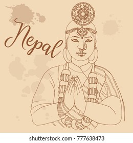Nepali girl retro style travel poster postcard hand drawn sketch