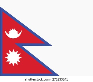 Nepal's national flag painted with white vector background.