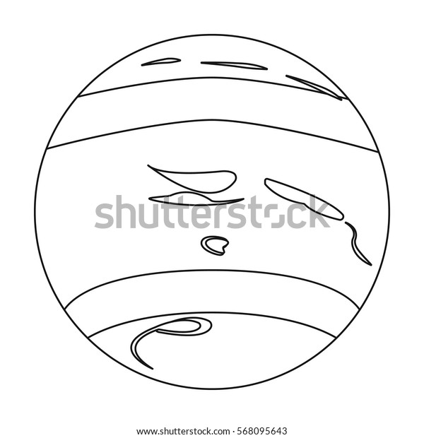 Neptune icon in outline style isolated on white background. Planets symbol stock vector illustration.