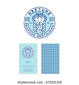 Neptune logo. Poseidon logo. Seafood restaurant emblems. Neptune god in the crown with letters in the circle badge. Linear logo. identity. Business card.