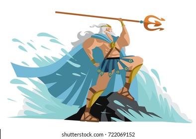 neptune poseidon god of the sea in a wave