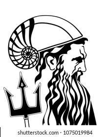 Neptune poseidon sea god with trident