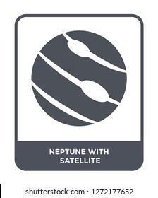 neptune with satellite icon vector on white background, neptune with satellite trendy filled icons from Astronomy collection, neptune with satellite simple element illustration